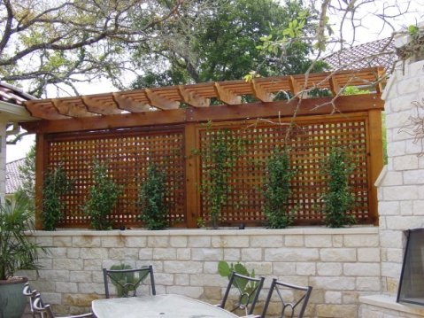 Austin Privacy Enclosure over Stone Wall