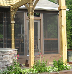 TimberTech Screened porch with EZ Breeze windows and Pergola