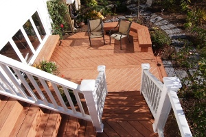 TimberTech deck staircase with white picket railing