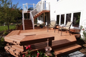 Glass railing on second-story TimberTech deck