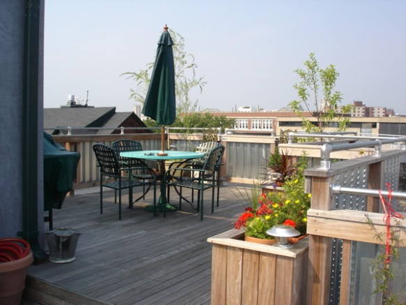 Brazilian hardwood roof deck in Providence RI