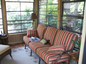 Detached screen porch with sliding windows