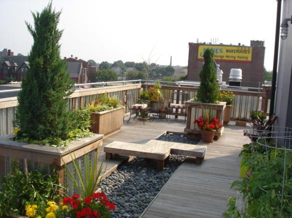 Roof deck zen garden area
