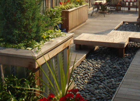 Roof deck zen garden built-in planters and benches