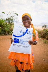 Girl in Madagascar who just received a bed net