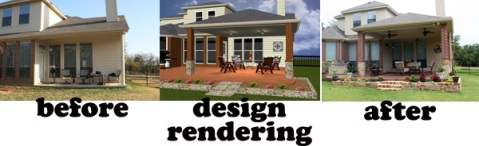 Before building a covered patio, 3-D design CAD rendering, and after the project is completed