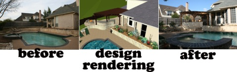Pergola and patio before picture, 3-D design rendering and CAD drawing, and after project completion