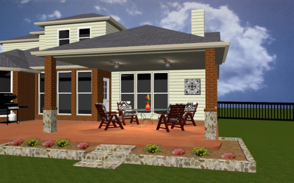 Design rendering of covered patio from Archadeck of Arlington/Fort Worth/Tarrant County TX