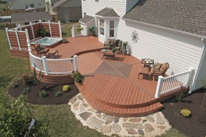 Deck with rounded edges and decorative inlays