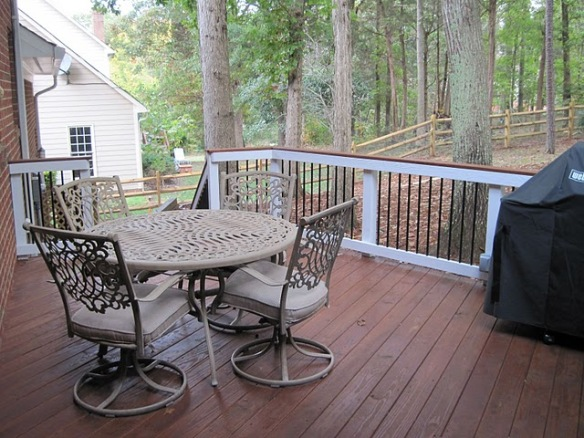 Deck with adjacent screened porch