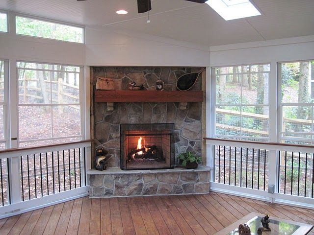 Screened Covered Patio With Fireplace Living Screened Porch Addition With Fireplace Porch