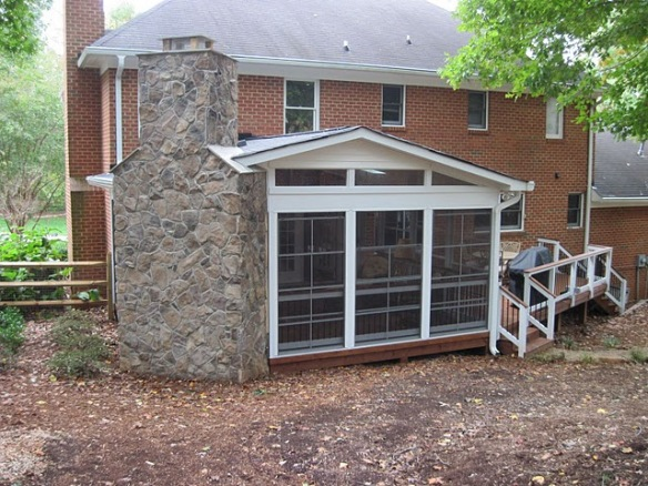 Charlotte NC screened porch with outdoor fireplace