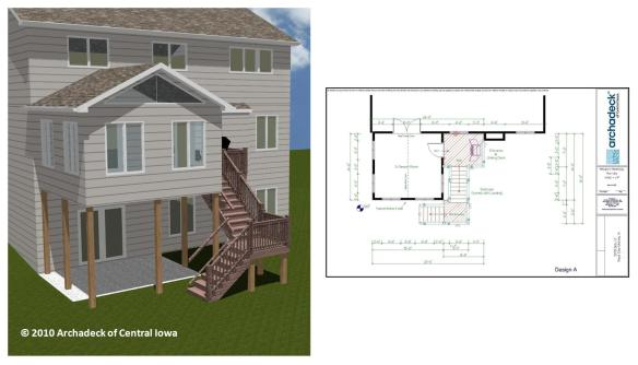 Sunroom West Des Moines Rendering and Architectural Drawing