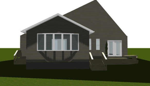 Design rendering for new sunroom and deck project