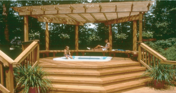 Diy hot tub pergola plans wooden pdf simple sitting bench for Spa deck design