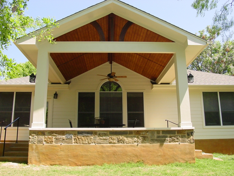 Home decoration archadeck custom decks patios sunrooms for Gable patio designs