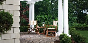Tea for two on this beautiful patio constructed with Belgard pavers