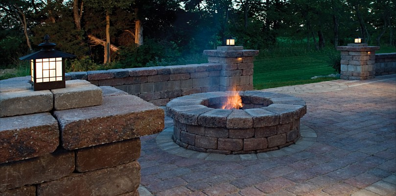 Paver patio and firepit by Belgard - Outdoor Fire Pit Archadeck Custom Decks, Patios, Sunrooms, And