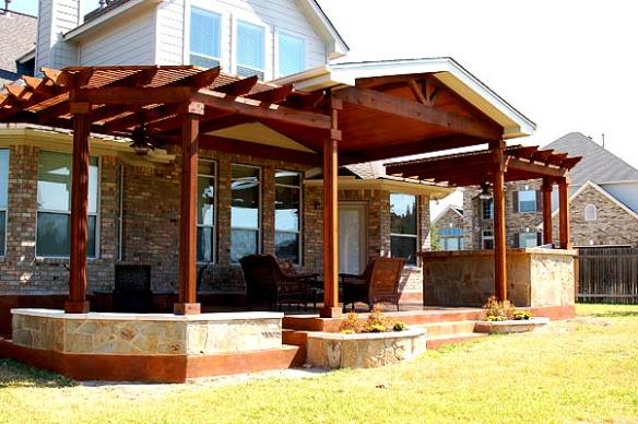 Austin concrete patio with pergola and patio cover