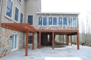 custom_sunroom_builder_Chester_County_PA detailed view of pergola and surrounding structures