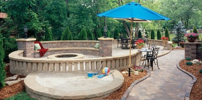 Hardscape sandbox and play area by Belgard
