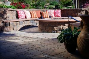 Hardscape seating area by Belgard