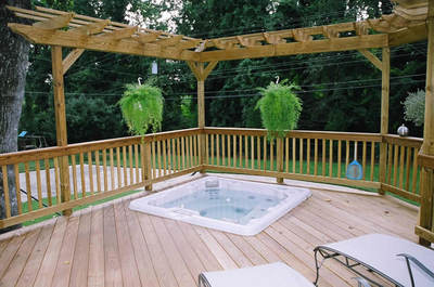 These double pergolas promote intimacy and space definiton around this ...