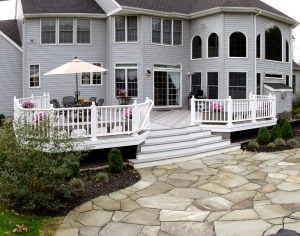 This patio is more natural looking with its flagstone finish