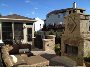 I wouldn't mind huddling around this outdoor fireplace