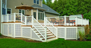 Lattice skirting is used to hide the under deck area
